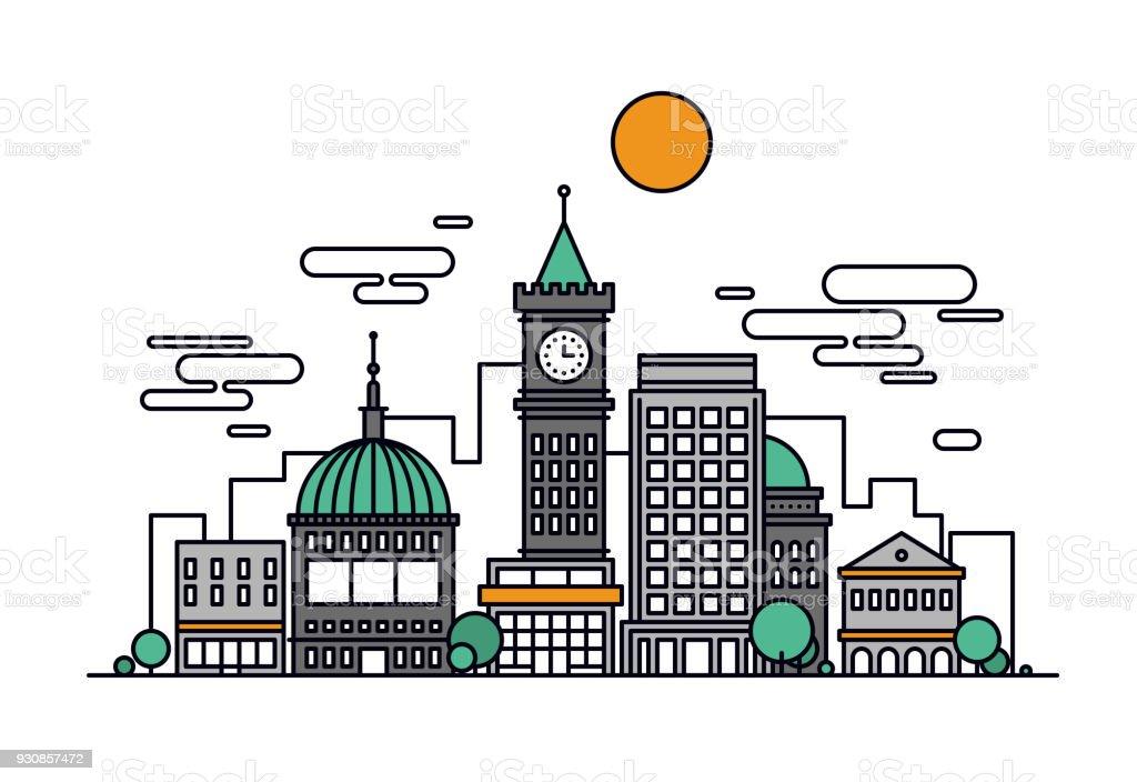 Cityscape architecture line style illustration vector art illustration
