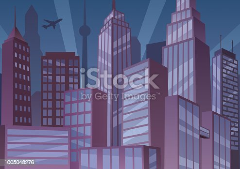 Illustration of cartoon cityscape at night with art deco buildings.