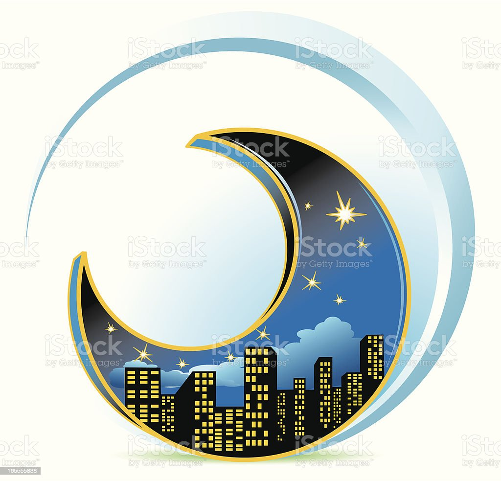 Cityscape At Night - Moon Concept royalty-free stock vector art