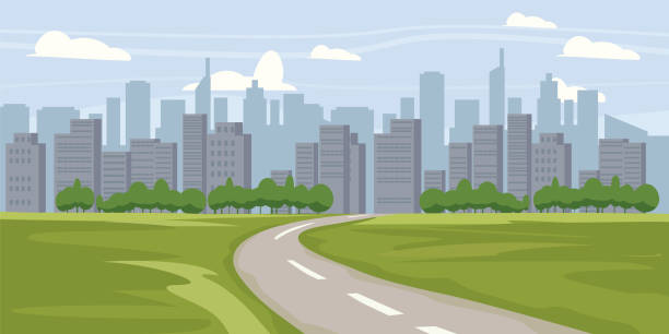 illustrations, cliparts, dessins animés et icônes de arrière-plan de paysage urbain. paysage de bâtiments de silhouette. architecture moderne. paysage urbain. bannière horizontale avec panorama de la mégapole. illustration vectorielle - paysage urbain