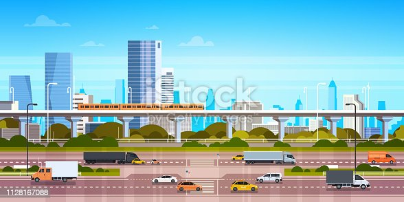 istock Cityscape Background Modern City Panorama With Highway Road And Subway Over Skyscrapers 1128167088
