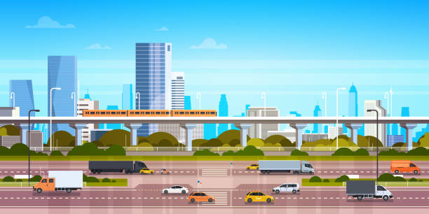 Cityscape Background Modern City Panorama With Highway Road And Subway Over Skyscrapers Cityscape Background Modern City Panorama With Highway Road And Subway Over Skyscrapers Flat Vector Illustration urban road stock illustrations
