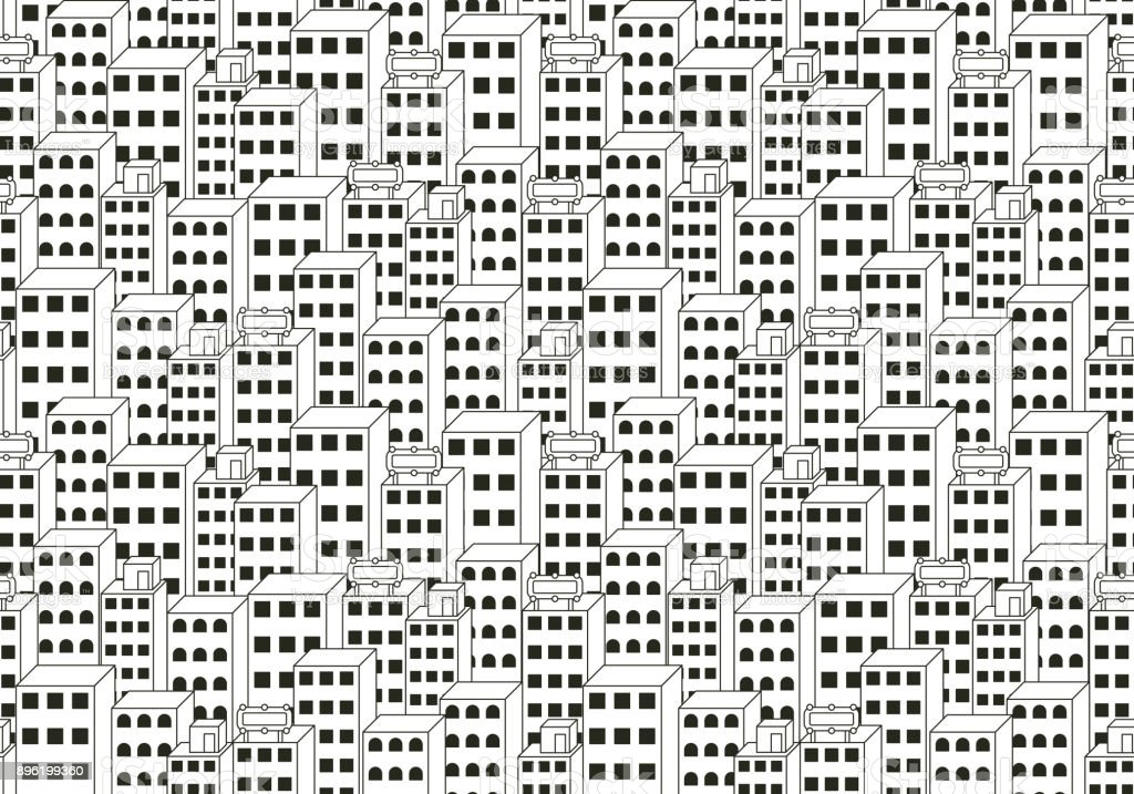 Cityscape Black and White Background vector art illustration