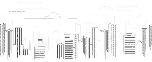 ブラックとホワイトの景観 - 都市 モノクロ点のイラスト素材/クリップアート素材/マンガ素材/アイコン素材