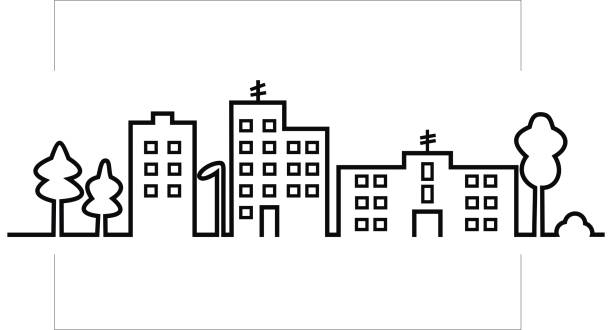cityscape, black silhouette of town, vector icon Cityscape, black silhouette of town, vector icon. Group of prefab houses, lamp and trees. Creative isolated object. architecture silhouettes stock illustrations