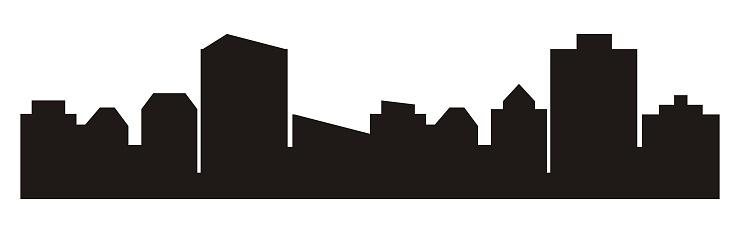 Cityscape, black silhouette of town