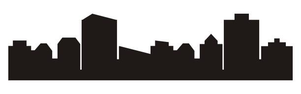 Cityscape, black silhouette of town Cityscape, roofs. Vector background, black silhouette. Group of houses. community borders stock illustrations
