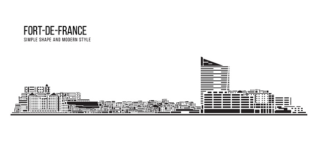 Cityscape Building Abstract Simple shape and modern style art Vector design - Fort-de-France