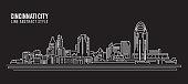 istock Cityscape Building Line art Vector Illustration design - Cincinnati city 1318801943
