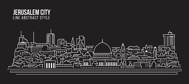 Cityscape Building Line art Vector Illustration design - Jerusalem city