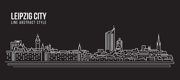 Cityscape Building Line art Vector Illustration design - Leipzig city