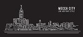 Cityscape Building Line art Vector Illustration design - Mecca city