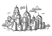 Hand-drawn vector drawing of a Cityscape with Cartoon Skyscraper Buildings. Black-and-White sketch on a transparent background (.eps-file). Included files are EPS (v10) and Hi-Res JPG.