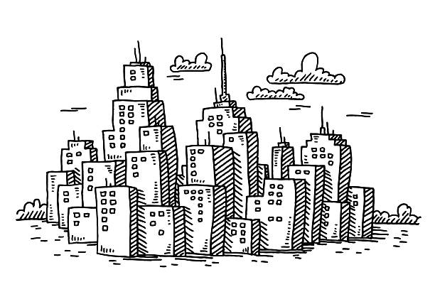Black And White City Illustrations, Royalty-Free Vector ...