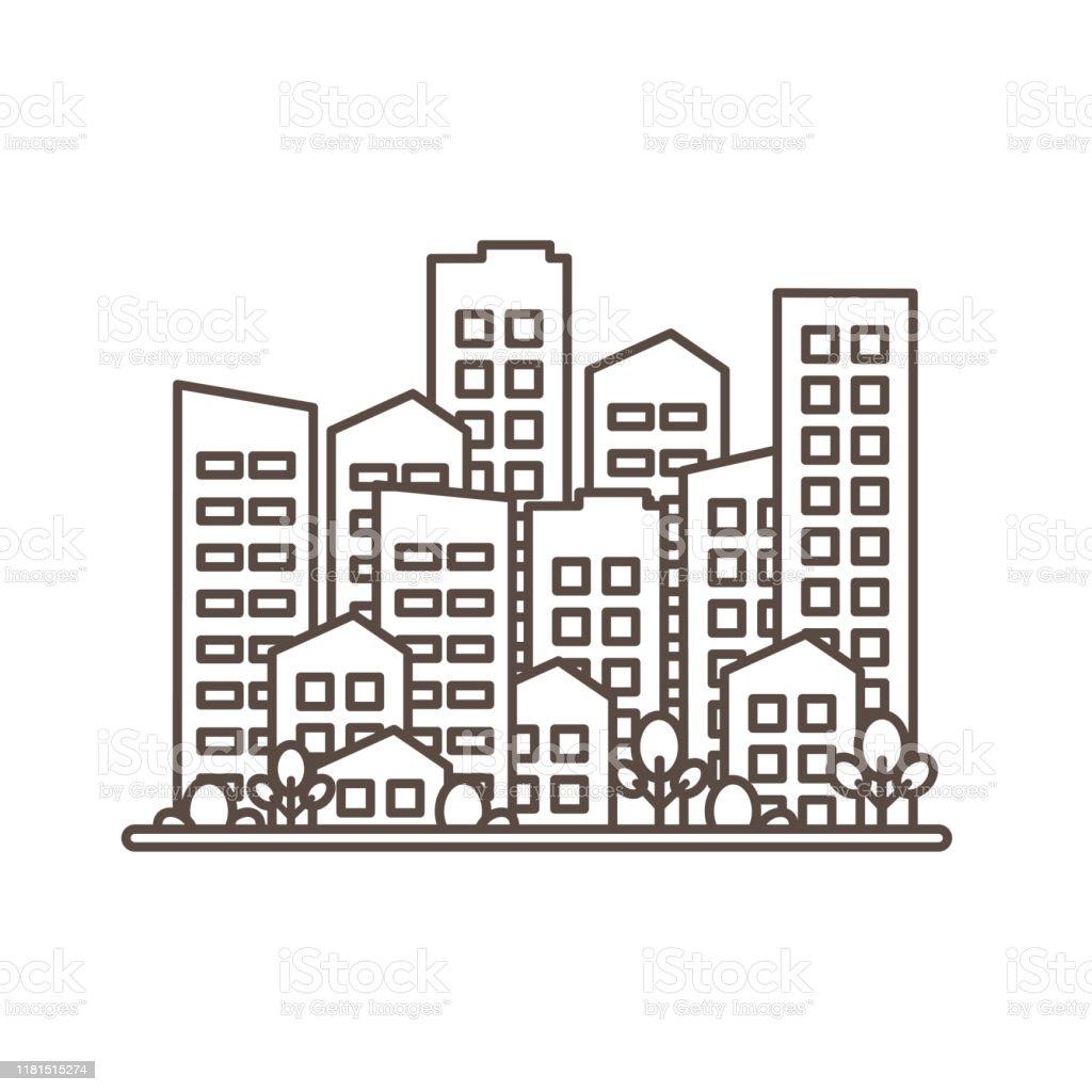 Cityscape City Modern Buildings Housing District Town Homes Black ...