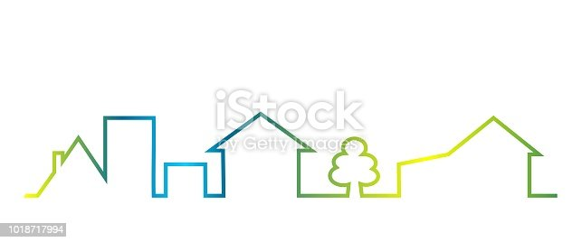 Cityscape, colored outline of houses and tree, vector icon. Multicolored creative object.