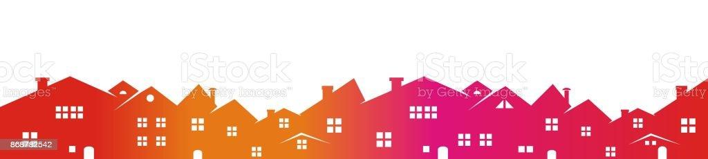 Cityscape, colored silhouette vector art illustration