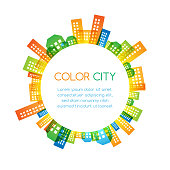 Cityscape colorful decorations. Round banner