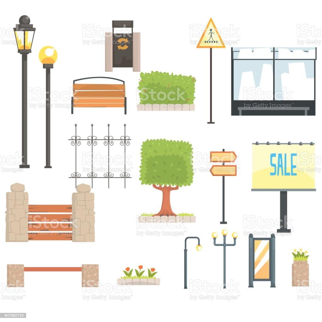 Ilustración de Elementos De Paisaje Urbano Constructor Ubicado En ...
