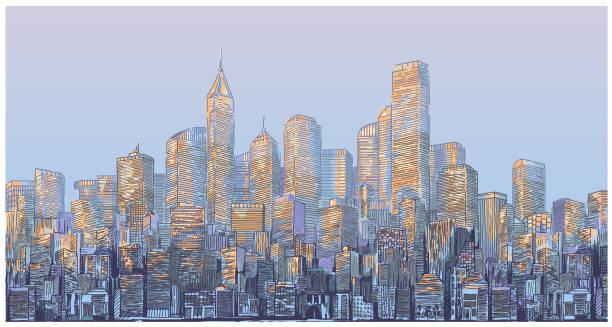 Stadsbilden ritning vektorkonstillustration