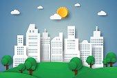 Cityscape , eco city , paper art style