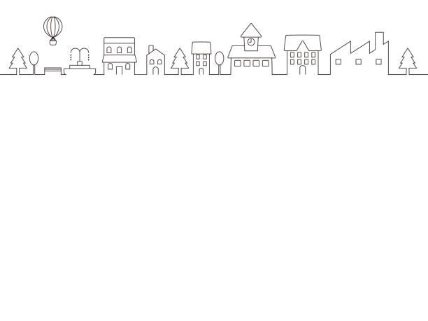 都市の景観 frame1 - 都市 モノクロ点のイラスト素材/クリップアート素材/マンガ素材/アイコン素材