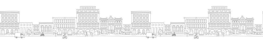 Cityscape, houses, buildings, street with pedestrians, traffic. Seamless pattern border