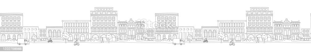 istock Cityscape, houses, buildings, street with pedestrians, traffic. Seamless pattern border 1222758566
