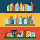 Decorative horizontal flat banners set of residential edifice and industrial complex cityscape skyline abstract isolated vector illustration