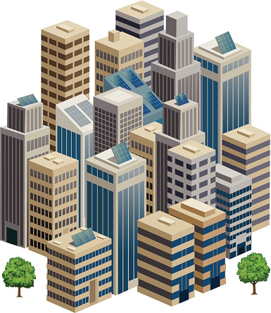 Cityscape in 3D Isometric view.