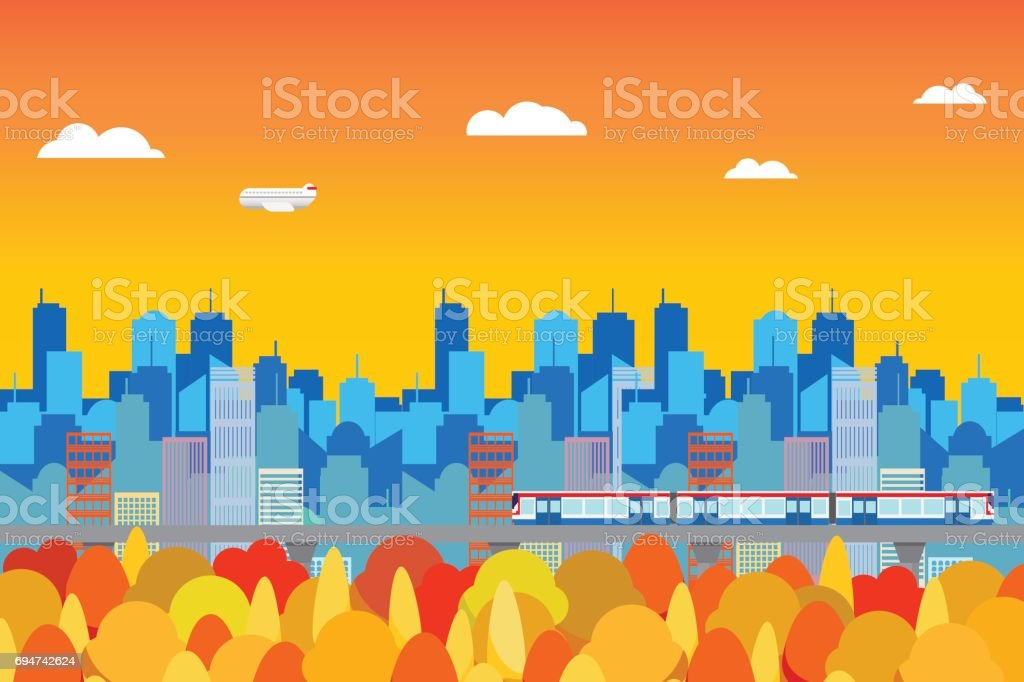 cityscape in Autumn color change background vector art illustration