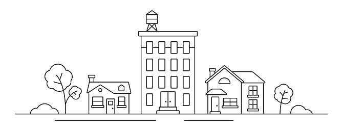 Cityscape Line Drawing