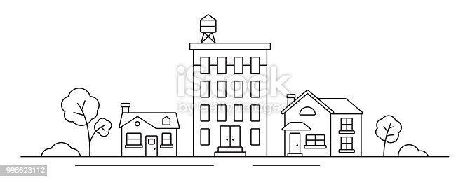 Urban skyline line drawing symbol trees.