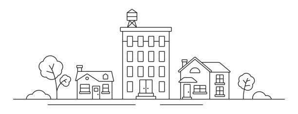 rysunek linii pejzażu miasta - lineart stock illustrations