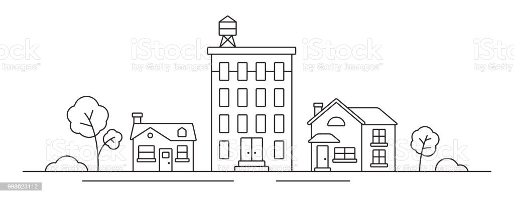 Cityscape Line Drawing vector art illustration