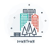 Line Style Vector Illustration for Downtown.