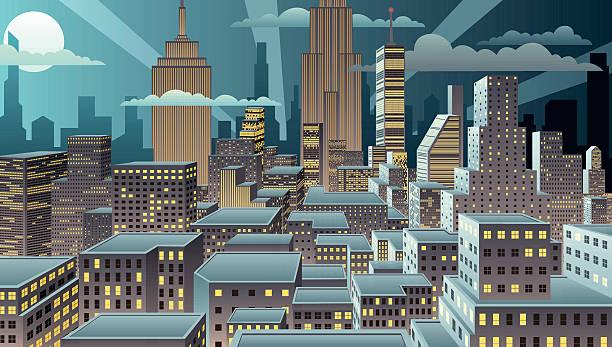 夜の景観 - 漫画の風景点のイラスト素材/クリップアート素材/マンガ素材/アイコン素材