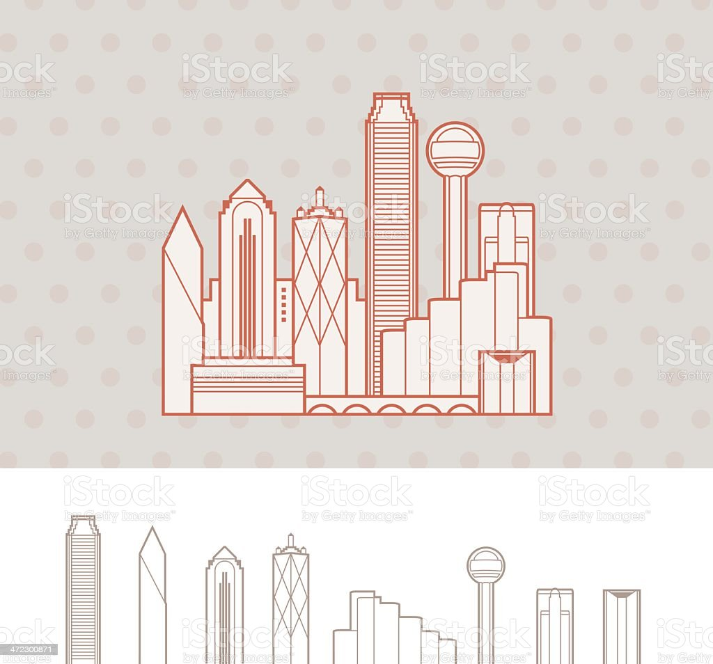 Cityscape of Dallas, Texas, USA vector art illustration