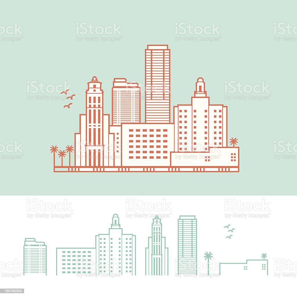 Cityscape of Miami, Florida, USA royalty-free stock vector art