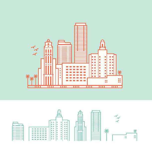 Cityscape of Miami, Florida, USA Stylized Representation of Miami. Background, fill, and city outline are on separate layers. You can use the city illustration without the fill. art deco district miami stock illustrations