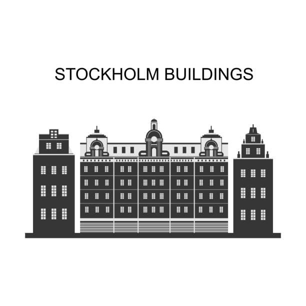 bildbanksillustrationer, clip art samt tecknat material och ikoner med stadsbilden av stockholm. panoramavy över historiska delen av stockholm i sverige. byggnader i stockholm präglas av sitt unika läge mellan mälaren och östersjön. - stockholm