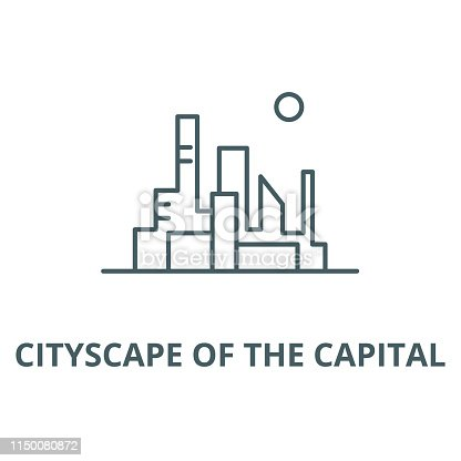 Cityscape of the capital vector line icon, outline concept, linear sign