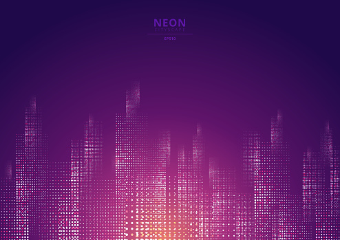 Cityscape on a dark background with bright and glowing neon purple and yellow lights.