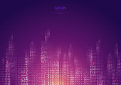 Cityscape on a dark background with bright and glowing neon purple and yellow lights. Futuristic night city. Cyberspace and retro style. Vector illustration