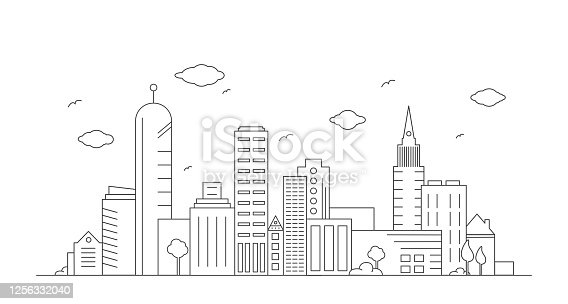 Modern city line art drawing illustration.