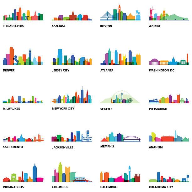 uns stadt-overlays 2-illustration - sehenswürdigkeit stock-grafiken, -clipart, -cartoons und -symbole