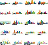 Series of US Cityscape with building overlays and landmarks