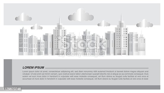 Cityscape paper art style, vector illustration graphic