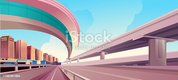 vector horizontal illustration, day city landscape, outskirts of the city, with a large trestle crossing the roadway