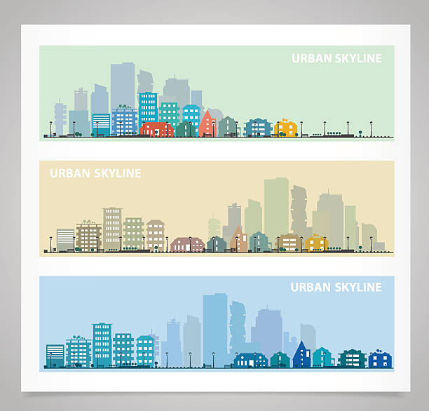 panorama zestaw - suburbs stock illustrations
